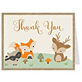 Woodland Friends Thank You Cards Burlap Forest