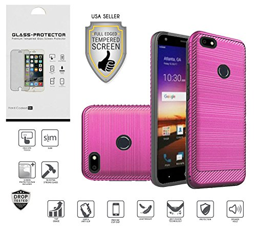 ZTE Blade X Case (Cricket), Z965 Case, with Full Edged Tempered Glass Screen Protector, Metallic Brushed Design Slim Hybrid [Shockproof] Dual Layer Case Cover (Hot (Blade Design)