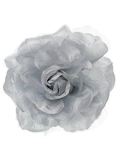 NYFASHION101 Women's Multifunction Rose Flower Sheer Petal Brooch Pin Hair Tie Clip, Silver