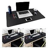Leather Desk Mouse Pad, Desk Pad Protecter 31.5'' x 15.7'' Non-Slip Comfortable Desk Writing Mat Waterproof PU Leather Mat Dual Use Office Desk Mat (Black&Black)