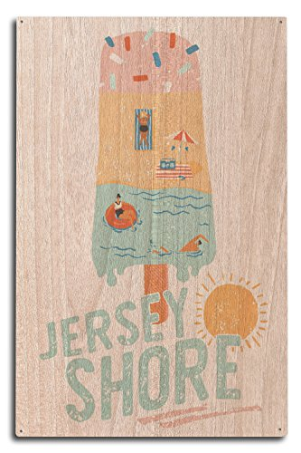 Lantern Press Jersey Shore, New Jersey - Summer Popsicle Scene (10x15 Wood Wall Sign, Wall Decor Ready to Hang)