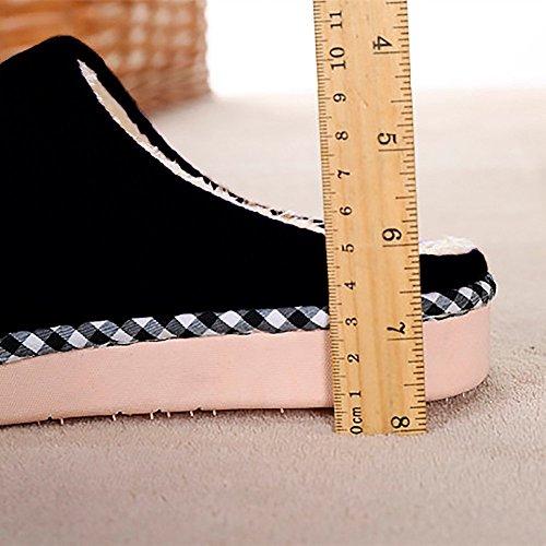 Slippers Peluche Accueil Noir Coton Doublure Pantoufles Intérieure Homme Automne Chaudes Chaussons Douce Chaussures Femme Hiver Mules Eagsouni Cqw6pX6