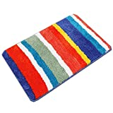 HEBE Soft Microfiber Bathroom Rug Machine Washable Bath Mat for Bathroom Non-Slip Children's Bath Rug with Rubber Backing(18×26'', Rainbow)