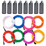 Zitrades EL Wire Kit 9ft, Portable Neon Lights for Parties, Halloween, Blacklight Run, DIY Decoration (8 Pack, Each of 9ft, Red, Green, Pink, Purple, Blue, White, Yellow, Orange)