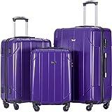 Merax 3 Piece P.E.T Luggage Set Eco-friendly Light Weight Travel Suitcase (Purple)