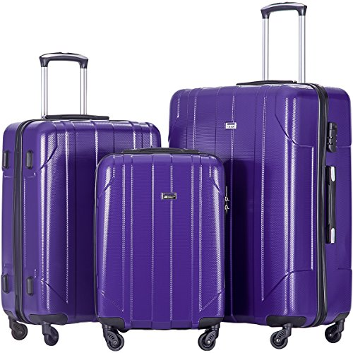 Merax 3 Piece P.E.T Luggage Set Eco-friendly Light Weight Travel Suitcase (Purple) 3 Piece Rolling Luggage Suitcase