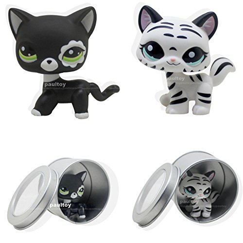 2pcs Littlest Pet Shop Black & White Cat Kitty LPS Toy #1498 #2249 (Pepper Cat Tree)