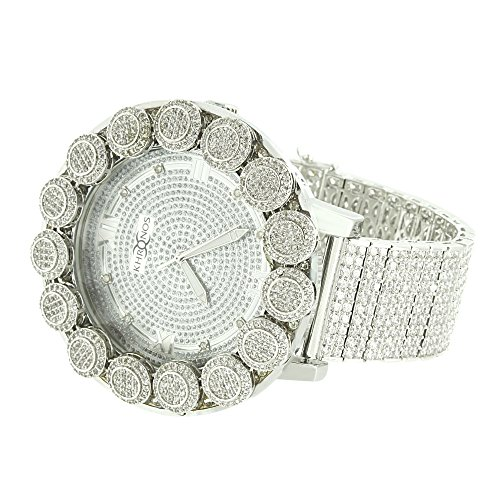 (Flower Bezel Watch White Gold Finish Genuine Diamond Dial Iced Out Band Analog Custom Brand New)