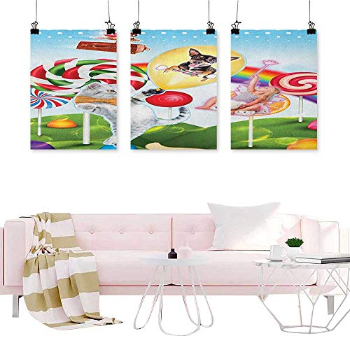 (J Chief Sky Kids,Wall Art Print Colorful Fantasy Land Rainbow Candy Trees Cat Dog Fairy Girl Boy Flying in Suitcase Abstract Painting W16 x L32)