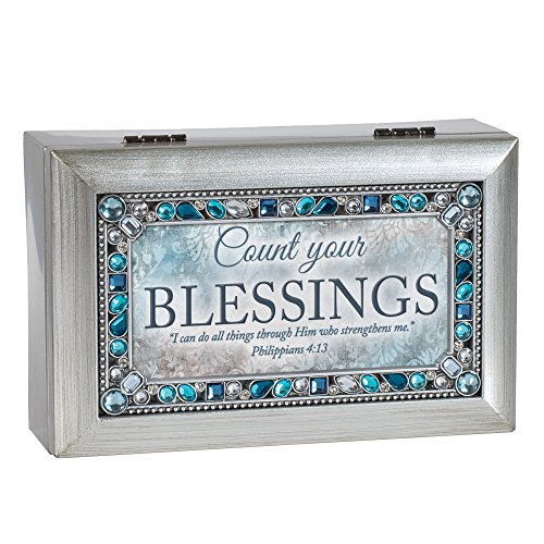 Cottage Garden Count Your Blessings Brushed Silvertone Jewelry Music Box Plays Friend in Jesus