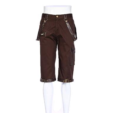 DEVIL SHACKLES Gothic Herren Mode Retro Braun Cargo Shorts