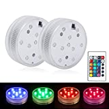 COOLWEST Swimming Pool Lights with Remote Control, IP68 Waterproof LED Submersible RGB Underwater for Fish Tank, Aquarium, Vase, Christmas, Halloween, Lantern, Pack of 2 - Not Included Battery