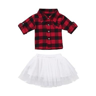 b844868afef8 Amazon.com  Toddler Baby Girls Red Plaid T-Shirt Tops + Bows White Tutu  Skirt 2PCS Set  Clothing