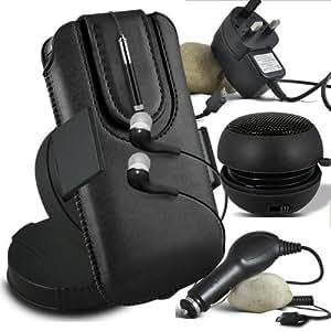 Online-Gadgets UK - Samsung Galaxy Mini S5 PU atracción magnética deslizamiento Cable en caja de la bolsa de liberación rápida con Mini capacitivo Stylus Pen retráctil, 3.5mm en la oreja los auriculares, Mini recargable altavoz de la cápsula, 360 Rotating del parabrisas del coche horquilla del sostenedor del montaje, Micro USB CE la aprobación de 3 pines cargador de red, cargador de coche de 12V Micro USB - Negro