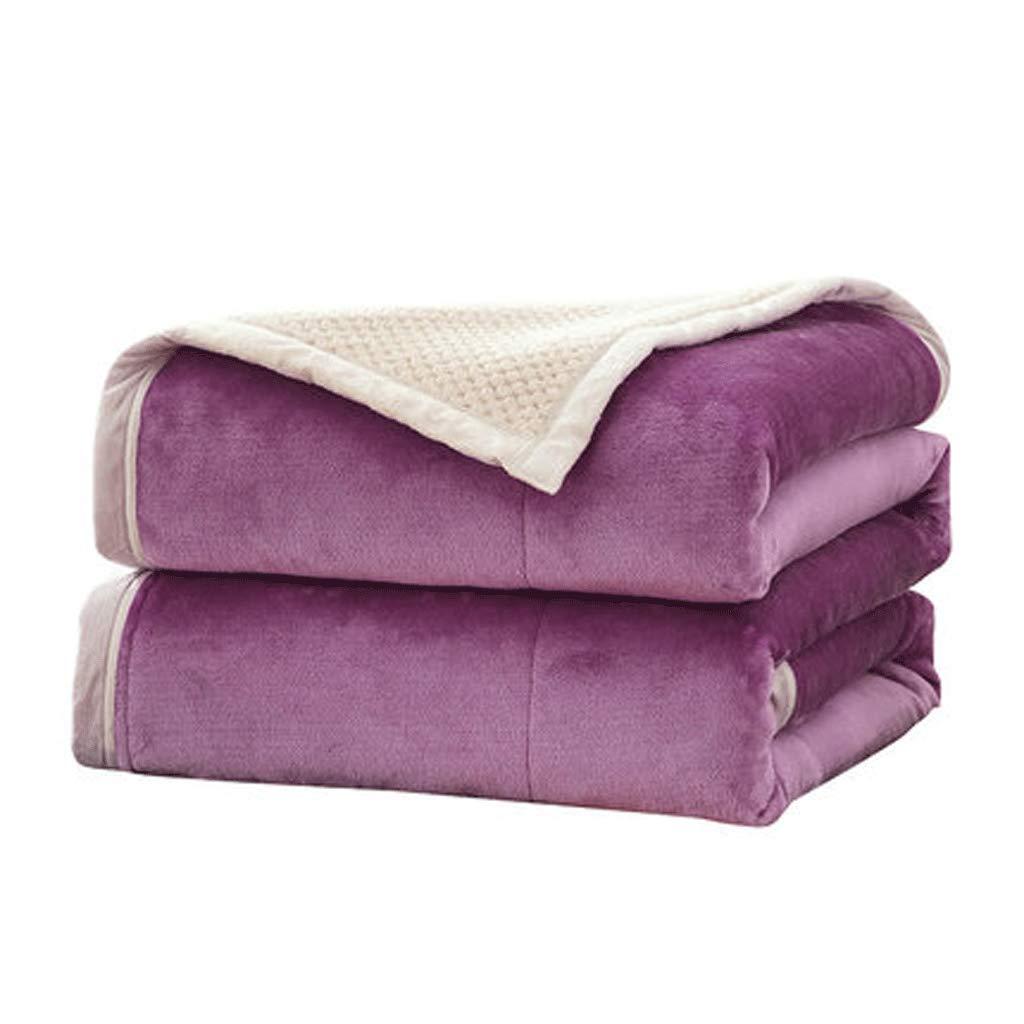 JIANXIN 冬には毛布、柔らかく快適な毛布、二重毛布、暖かい毛布、寝具、ぬいぐるみソリッドブランケット (色 : Purple, サイズ さいず : 150cm*200cm) B07HP3BV83