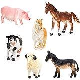 little animal figures - ROSENICE 6pcs Mini Farm Animal Figures Toy Set Pig Dog Cow Sheep Horse Donkey