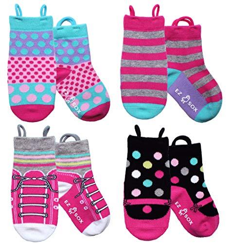 (Ez Sox Toddler Girls Socks Seamless Toe Non Skid Grips Cotton Pull Up Loops (Medium, Sneakers/Maryjanes/Stripes/Polkadots))