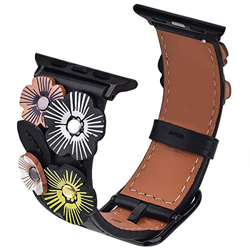 (V-MORO Flowers Leather Bands Compatible with Apple Watch Bands 42mm 44mm Series 4/3/2/1 with Stainless Steel Buckle Black Replacement Strap Wristbands Women(Black,)