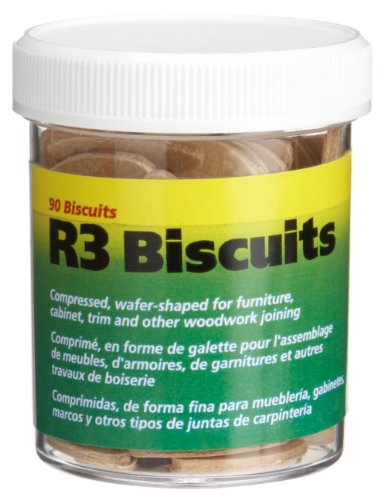 (wolfcraft 2995404 Compressed Wafer Shaped Wood Joining Biscuits for Joining Wood Pieces, #R3, 90 Piece Jar)