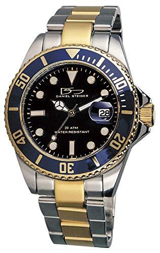Daniel Steiger Regal Two-Tone Luxury Men's Watch - Navy Blue Dial with Luminous Indices - 200M Water Resistant - Precision Quartz Movement - Date Magnifier