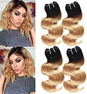 Xccoco 10a Peruvian Hair Ombre Blonde Short Body Wave 4 Bundles 200g T1b 27 Black To Honey Blonde Ombre Remy Super Soft Human Hair Weave Extensions 10 10 10 10inch 50g Bundle Buy Online At Best