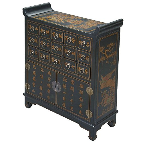 EXP Handmade Oriental Furniture 39-inch Antique Style Medicine Chest Style Cabinet, Black