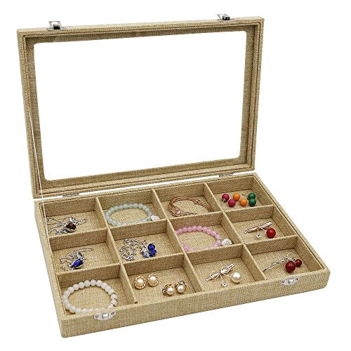RJ Displays-12 Grid Linen Jewelry Tray With Clear Glass Showcase Display Storage Rings Coins Gemstones Small Jewelry Earrings Brooch Buttons Vintage Organizer Glass Top with Lock (12 Grid) -