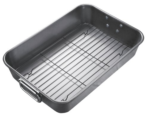 (WearEver J0939064 Commercial Bakeware Nonstick Dishwasher Safe Roaster 15.74 x 11-Inch with Rack Bakeware, Gray)