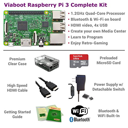 Viaboot Raspberry Pi 3 Complete Kit — Official Micro SD Card, Premium Clear Case Edition by Viaboot (Image #1)