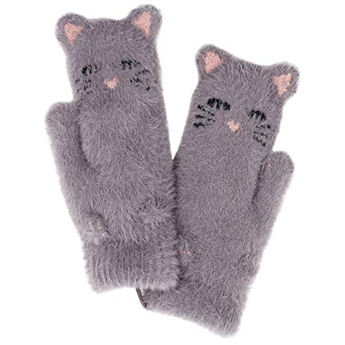 Orityle Women Cartoon Animal Cat Face Mittens Thicken Double-layer Fleece Lined Glove for Girls Lady