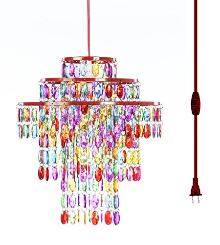 3 Tier Acrylic Chandelier (The Original Gypsy Color One Light 3-Ring Plugin Chandelier with Three Tiers of Hanging Crystals H14