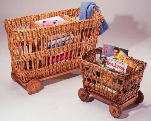Fran's Wicker Furniture Wicker Rolling Magazine Wagon by Fran's Wicker and Rattan