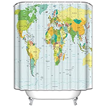Amazoncom GWELL Shower Curtain Polyester Fabric Waterproof