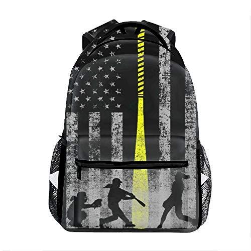 Casual Backpack Softball Flag Print School Bag Travel Backpacks (Best Softball Backpack Bag)