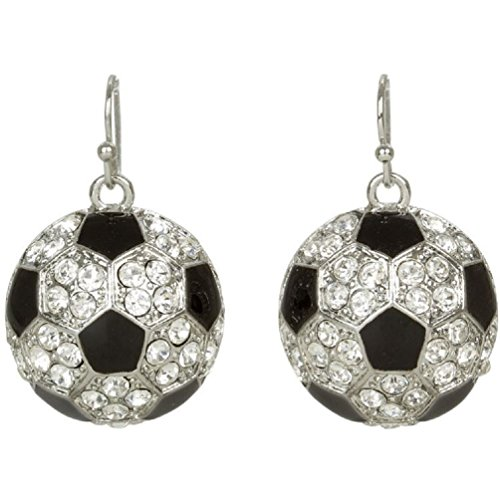 Heirloom Finds Crystal and Enamel Soccer Ball Drop Earrings (Soccer Bling)