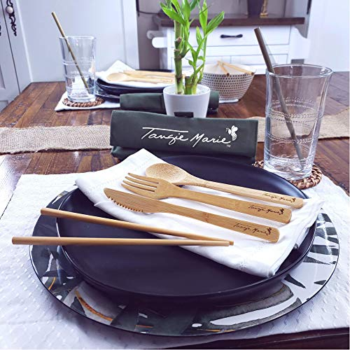 Tangie Marie Bamboo Utensils Premium Eco Friendly Reusable Bamboo Utensil Set Wood Flatware Wooden Cutlery Bamboo Chopsticks with Case, Bamboo Toothbrush, Camping Utensil Set