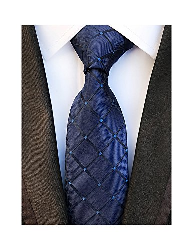 lue Plaid Tie Check Striped Silk Woven Jacquard Necktie + Gift Box (Navy Blue Silk Necktie)