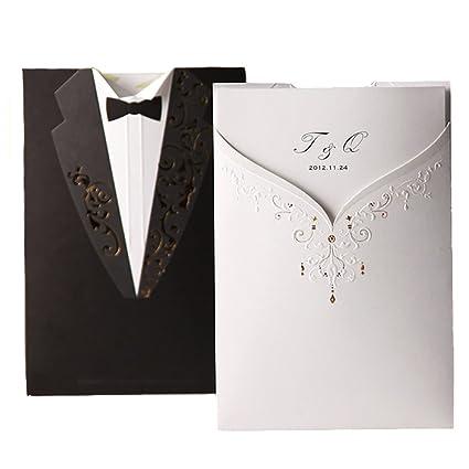 amazon com wishmade 50x groom bridal white and black laser cut