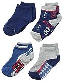 Stride Rite Boy's 4 Pack Race Car Quarter Socks, Blue, 5/6.5