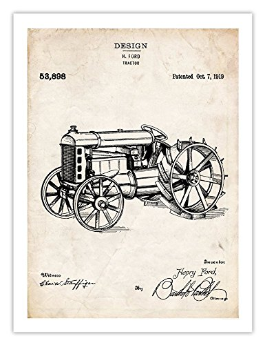 Steves Poster Store FORD TRACTOR INVENTION POSTER 1919 US Patent Art Retro Print Henry Farm Farming Plow Pull 18 by 24 ()
