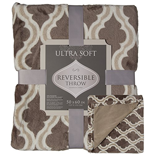 Crestwood Printed Soft Plush Cozy Luxe Fleece 50 x 60 Large Reversible Throw Blanket For Couch Sofa Bed, Taupe Brown
