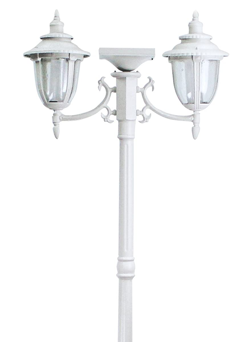 Sun-Ray 312015 Hannah 2-Head Solar Lamp Post and Planter, 7 ft, White, Batteries Included