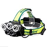 ZOUQILAI Headlamp 5 LED T6 Q5 Headlight 15000 Lumens USB Flashlight Camp Hike Emergency Light Fishing Outdoor 18650 Batteries Green
