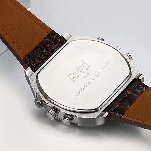 e4e60550d Oulm Analog Dark Brown Leather Strap Four Sub-dials Men Watch - Import It  All