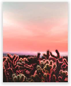 Humble Chic Wall Art Prints - Unframed HD Printed Plants Picture Poster Decorations for Home Decor Living Dining Bedroom Bathroom College Dorm Room - Cactus Sunset Desert Plant, 8x10 Vertical
