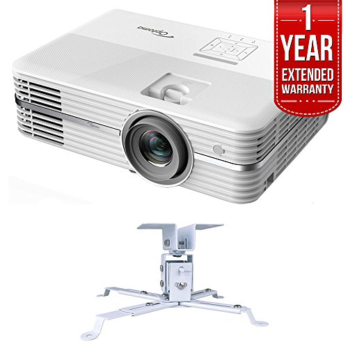 Optoma 4K UHD Home Theater Projector (UHD50) + Extendable Projector Ceiling  Mount + 1 Year Extended Warranty