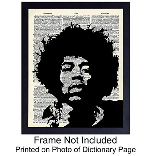 Jimi Hendrix Upcycled Dictionary Wall Art Print - Vintage 8x10 Unframed Photo- Perfect Gift for Rock n Roll Fans and Guitar Players, Cool Home Decor