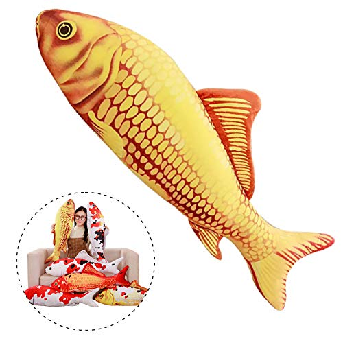 (Simulation Fish Plush Toy Soft Fish Toy Pillow Cushion Stuffed Toy Oversized Pillow Creative Gift Home Decor 55 in, Gold Carp )