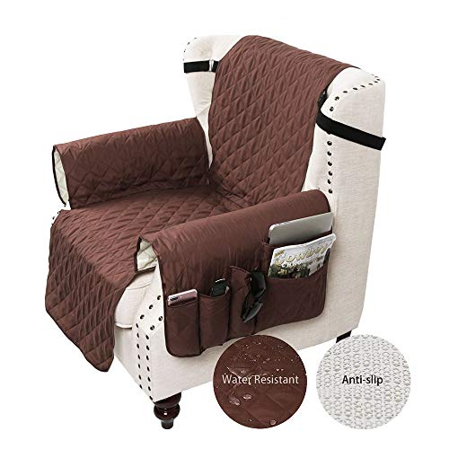 - SANLI Recliner Cover with Tv Remote Control Holder Armrest Organizer, Sofa Chair Protector with 5 Pocket Armchair Caddy, Recliner Size 28