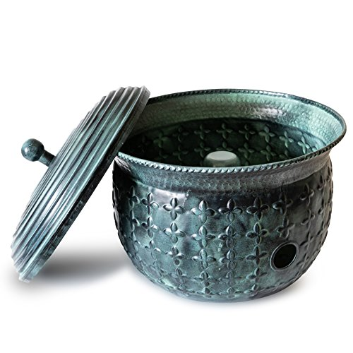 (Garden Hose Holder Storage Pot Copper with Bonus Lid Antique Green Finish Lattice Steel)